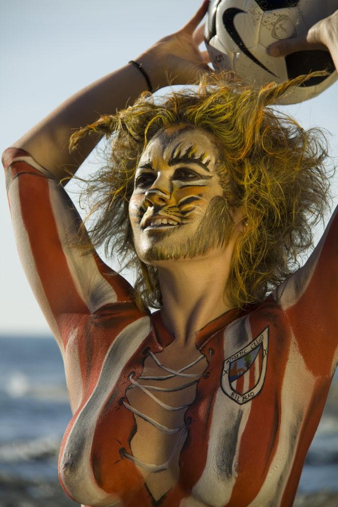 body painting – athletic club bilbao (maquillaje y fotografia